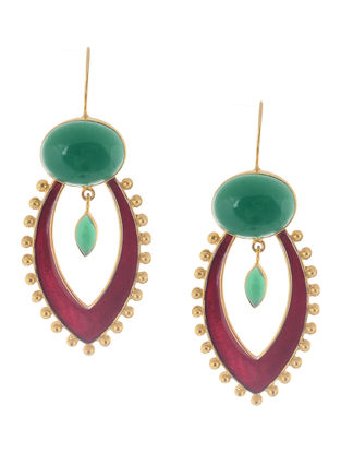 Green Onyx Enameled Gold Tone Silver Earrings