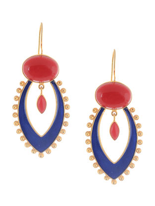 Coral Enameled Gold Tone Silver Earrings