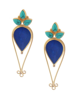 Turquoise Enameled Gold Tone Silver Earrings