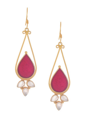 Rose Quartz Enameled Gold Tone Silver Earrings