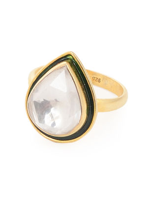 Green Enameled Crystal Gold Tone Adjustable Silver Ring