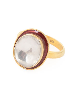 Red Enameled Crystal Gold Tone Adjustable Silver Ring