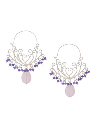 Rose Quartz and Amethyst Gold Tone Silver Earrings with Floral Design
