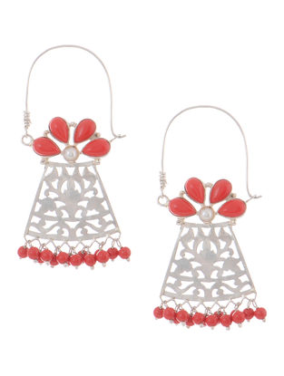 Coral and Pearl Silver Earrings