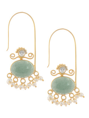 Green Aventurine and Pearl Gold Tone Silver Earrings