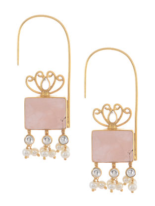 Rose Quartz and Pearl Gold Tone Silver Earrings