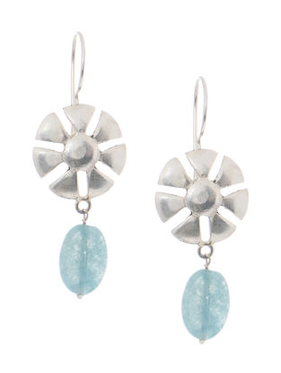 Aqua Quartz Drop Silver Earrings