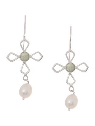 Green Aventurine and Pearl Silver Earrings