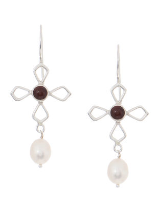 Red Onyx and Pearl Silver Earrings