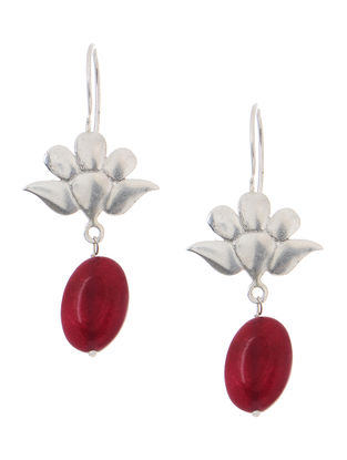 Red Quartz Silver Earrings