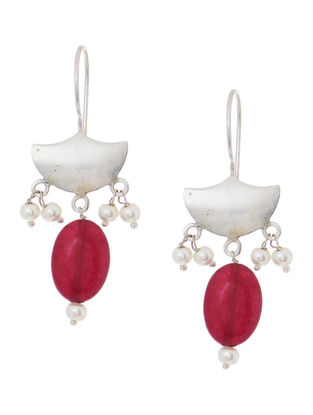 Red Quartz and Pearl Silver Earrings