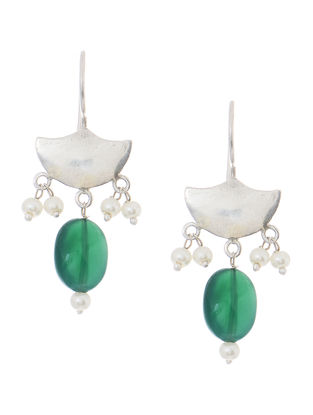 Green Quartz and Pearl Silver Earrings