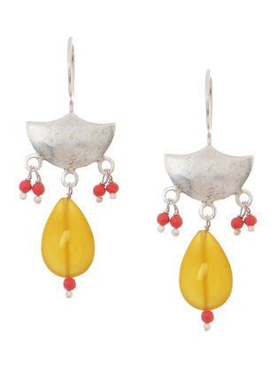 Yellow Chalcedony and Coral Silver Earrings