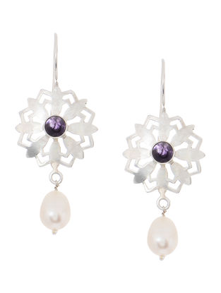 Amethyst and Pearl Silver Earrings