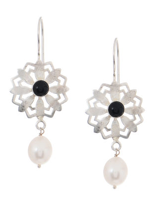 Black Onyx and Pearl Silver Earrings