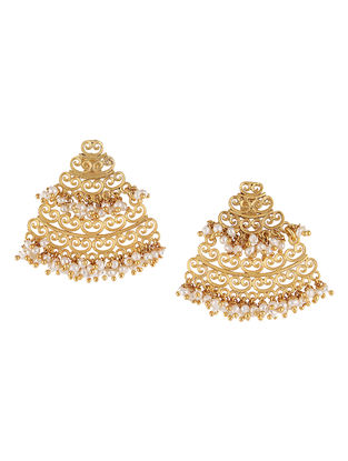 Dreamy Frills Gold-plated Brass Earrings with Pearls