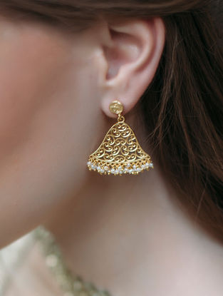 Summer Notes Gold-plated Brass Earrings with Pearls