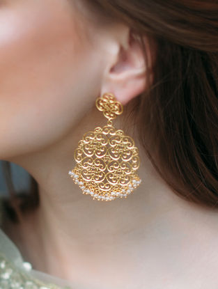 Spirit of Gold Gold-plated Brass Earrings with Pearls