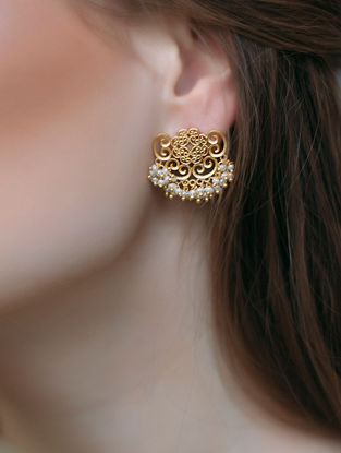 Delicate Darling Gold-plated Brass Earrings with Pearls