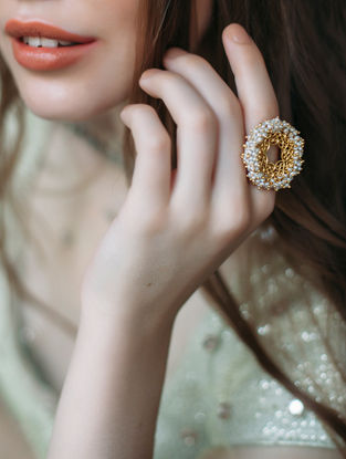 Delicate Desire Gold-plated Brass Adjustable Ring with Pearls