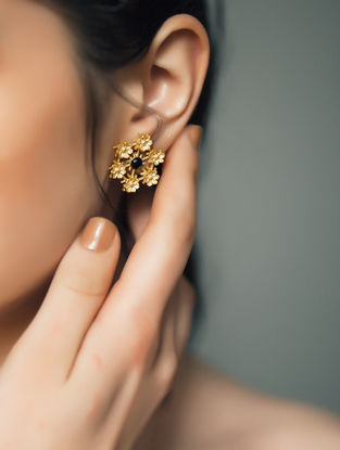 Black Onyx Gold-plated Earrings