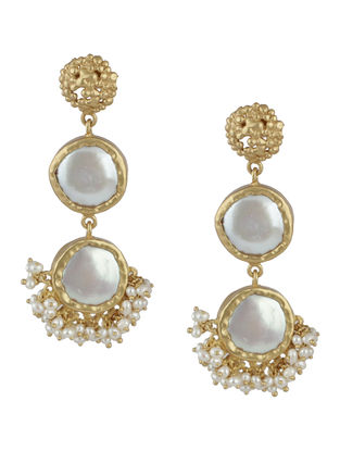 Art Adore Baroque Gold-plated Brass Pearl Beaded Earrings