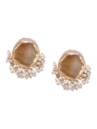 Its A Girl Thing Citrine Gold-plated Brass Pearl Beaded Earrings