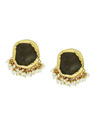 Its A Girl Thing Smoky Topaz Gold-plated Brass Pearl Beaded Earrings