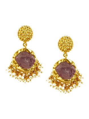 Echoing Art Amethyst Gold-plated Brass Pearl Beaded Earrings