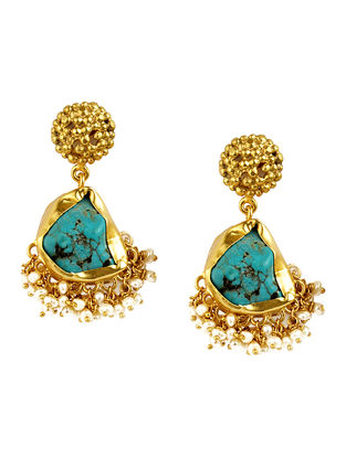Echoing Art Turquoise Gold-plated Brass Pearl Beaded Earrings