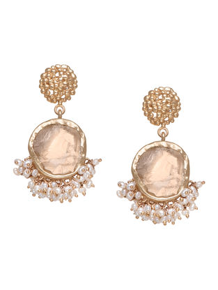 Echoing Art Citrine Gold-plated Brass Pearl Beaded Earrings
