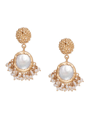 Echoing Art Baroque Gold-plated Brass Pearl Beaded Earrings