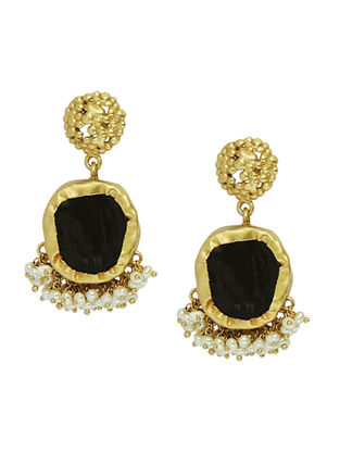 Echoing Art Smoky Topaz Gold-plated Brass Pearl Beaded Earrings