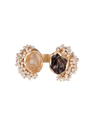 Twofold Treat Citrine and Smoky Topaz Gold-plated Brass Pearl Beaded Adjustable Ring