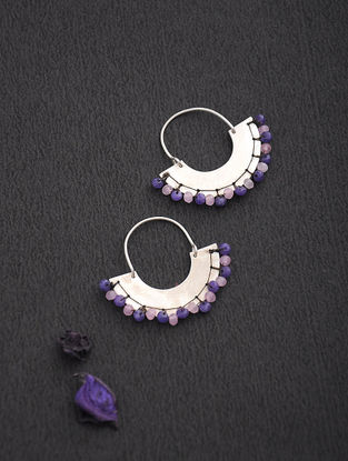 Rose Quartz and Amethyst Silver Earrings