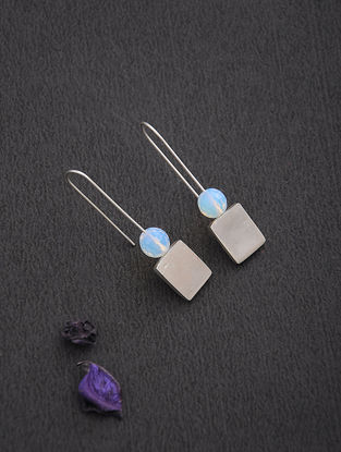 Rainbow Moonstone Silver Earrings