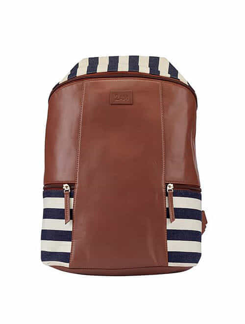Blue White Handcrafted Faux Leather Backpack