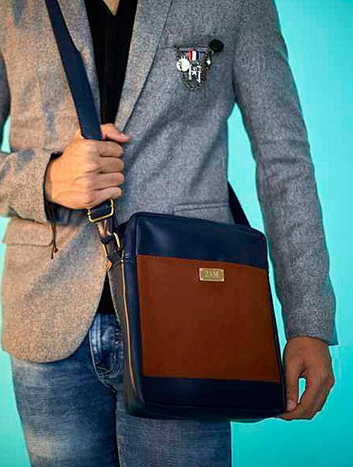 Blue-Brown Satchel For Men