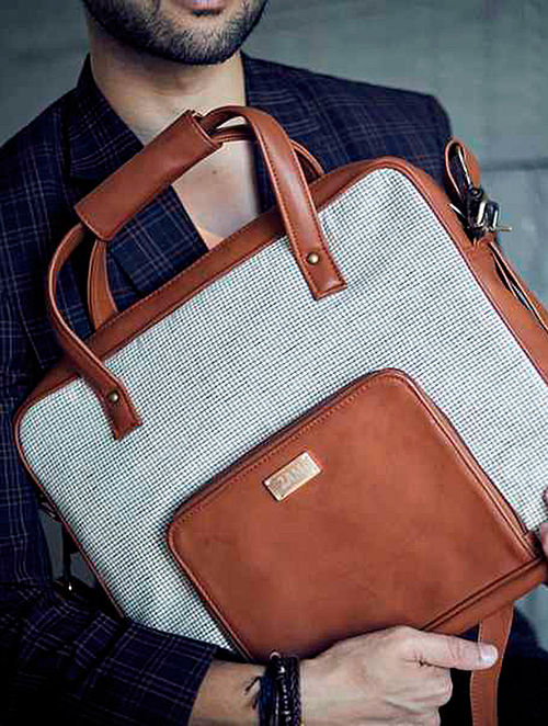 White-Brown Checkered Laptop Bag For Men
