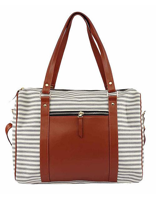 Grey Striped Cotton Handbag