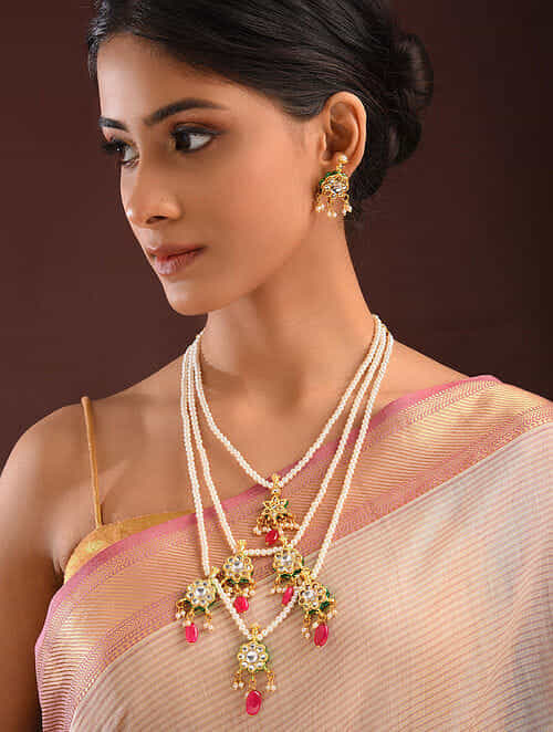 Red Gold Tone Kundan Beaded Necklace And Earrings With Pearls