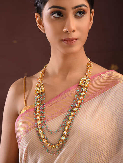 Turquoise Pink Gold Tone Kundan Necklace With Pearls