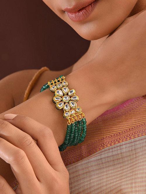Green Gold Tone Kundan Beaded Bracelet