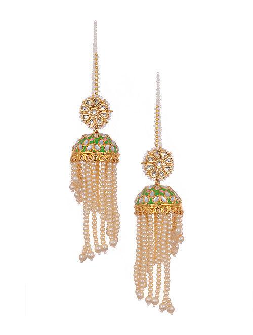 Green Gold Tone Kundan Enameled Jhumki Earrings With Pearls
