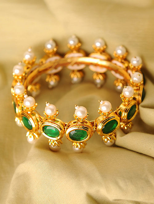 Green Gold Tone Handcrafted Bangle With Pearls