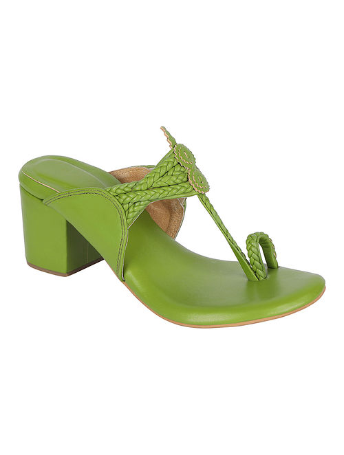 Green Handcrafted Genuine Leather Kolhapuri Block Heels
