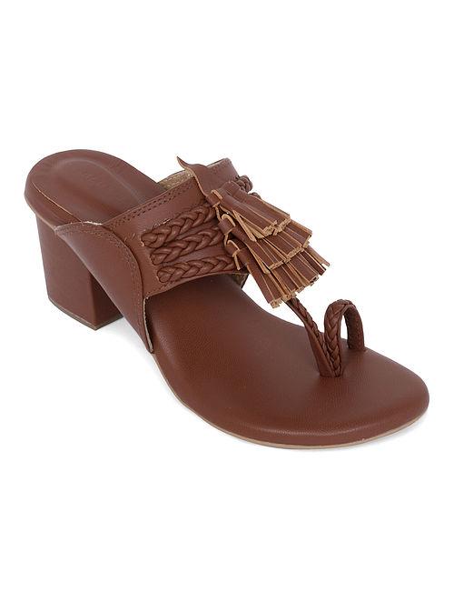 Brown Handcrafted Genuine Leather Kolhapuri Block Heels