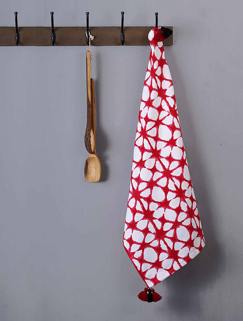 Red and White Cotton Screen Printed Kitchen Towel (L- 28in, W- 20in)