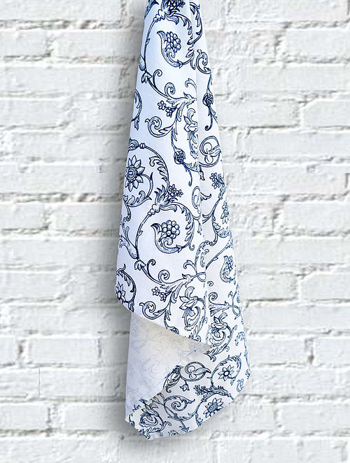 Blue and White Cotton Screen Printed Kitchen Towel (L- 28in, W- 20in)