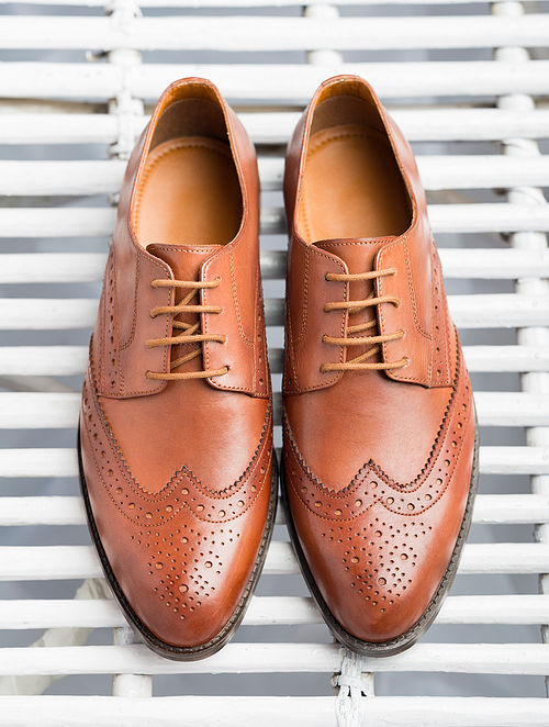 Tan Handcrafted Genuine Leather Shoes for Men